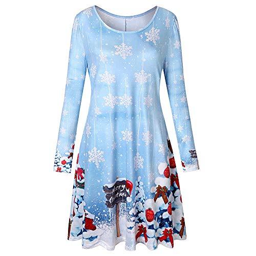 MRULIC Damen Blusenkleid Abendkleid Knielang Kleider Weihnachts Winterrock Festliches Kleid Mehrfarbig Verfügbar Schön Neujahr Herbst und Winter Kleid (EU-40/CN-XL, L-Hellblau)