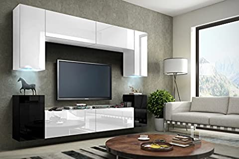 FUTURE 1 Wall Console Unit, Premium Entertainment Package, High Gloss