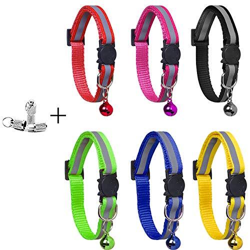 YHmall 6 Stück Katzenhalsband Reflektierendes + 2 Stück Anhänger mit sicherheitsverschluss und Glocke, Verstellbar 20-30 cm, Coole Halsbänder für Hauskatzen, Kleine Hunde MEHRWEG
