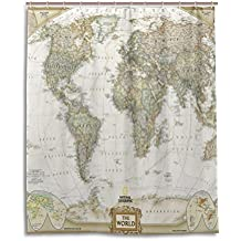 Cortina de ducha de baño 60x 72pulgadas, Moda Vintage Mapa Del Mundo, tela de poliéster a prueba de moho cortina de baño