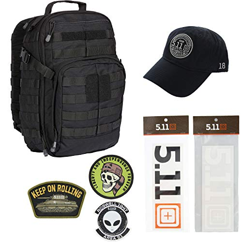 5.11 Kits RUSH12 Tactical Backpack 24L, Hat, Patches, and Decals Set - Army/Military and Tactical Gear Pack - Black Symbol Stealth Hat