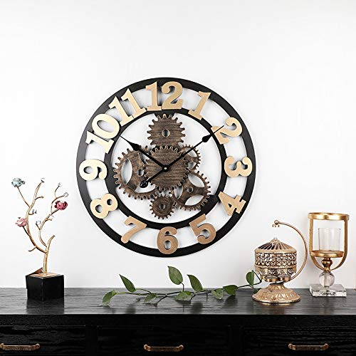 wczzh Quartz Lautlos Wanduhr Uhr Uhren Wall Clock Amerikanische kreative stumme Wanduhr Holz kreative römische Wanduhr Wohnzimmer Bürouhr Uhr 58cm sechs runde goldene Zahl