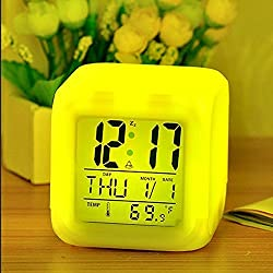 7 Colour Changing LED Digital Alarm Clock with Date, Time, Temperature