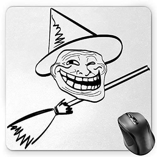 BGLKCS Humor Mauspads Mouse Pad, Halloween Spirit Themed Witch Guy Meme Lol Joy Spooky Avatar Artful Image Print, Standard Size Rectangle Non-Slip Rubber Mousepad, Black and White