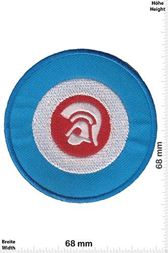 Patch-Iron-Trojan Records - blue - Independent-Label - - Punks - No Nazi - - Iron On Patches - Aufnäher Embleme Bügelbild Aufbügler (Patches Punk Rücken)