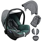 BAMBINIWELT Ersatzbezug für Maxi-Cosi CabrioFix 6-tlg. GRAU / TÜRKIS, Bezug für Babyschale, Komplett-Set