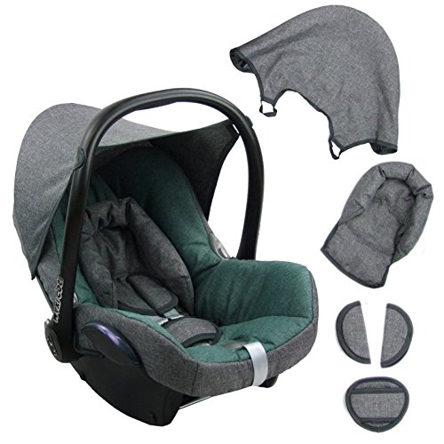 BambiniWelt Ersatzbezug für Maxi-Cosi CabrioFix 6 tlg. GRAU / TÜRKIS *NEU* Bezug für Babyschale Sommerbezug Cabrio Fix
