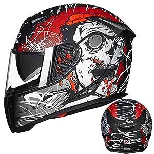 Leoie Men Motorcycle Helmet Four Seasons Double Lens Anti-Fog Full Helmet Matte Black XXL