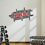 Nube de palabras con frase «work out» Calcomanía prémium para pared con frases motivacionales...