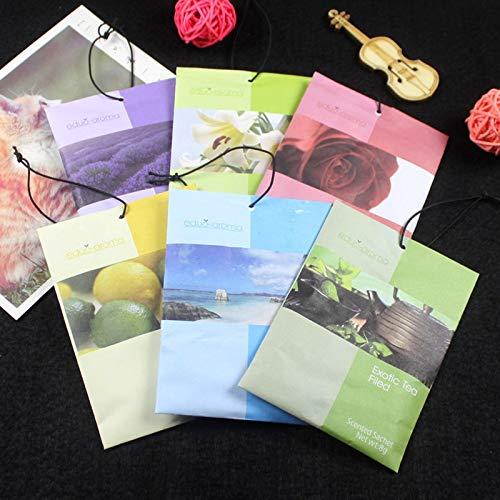 LABAICAI 3 stücke Natur Blume Frische Luft Pflanzen Duftenden Duft Hause Kleiderschrank Schublade Auto Lemo Lilie Ozean Rose Lavendel Beutel Tasche Parfüm (Color : Lavender) -