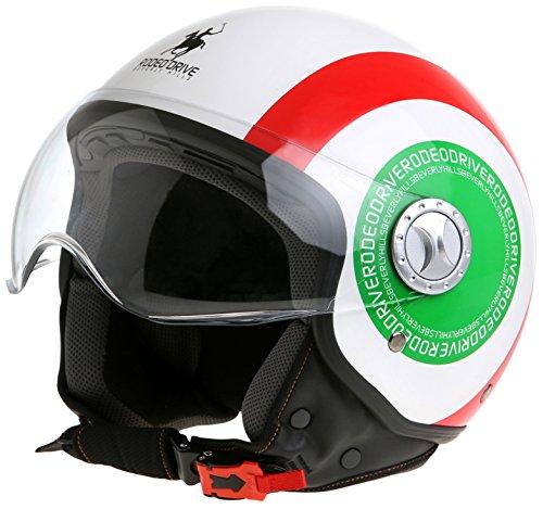 Rodeo Drive - Casco D/Jet Sfoderabile, Bandiera d'Italia, 61-62 (XL)