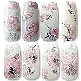 TaoNaisi 3D per Nail Art–2fogli adesivi nail art decalcomanie decorazioni fai da te di trasferimento dell' acqua per la cura delle unghie (rosa)