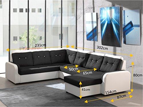 Ecksofa Bond3 mit Bettfunktion Schlaffunktion Wohnlandschaft Couch U-Form 01628 (Ottomane wie abgebildet, Farbänderung nach Wunsch) - 3