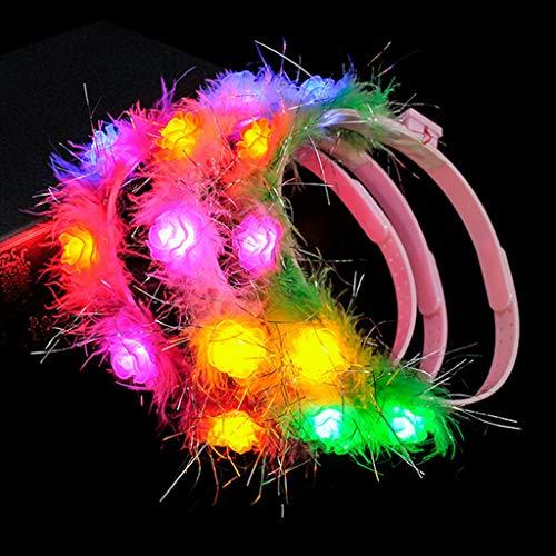Cuigu Leuchtende Girlande, LED Leuchten Blumenstirnband Glowing Hair Kranz Haarband Zubehör Weihnachten Party New Year Supplies Für Frauen Mädchen, Zufällige Farbe