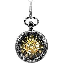 Infinite U Números Romanos Reloj de Bolsillo Mecánico Esqueleto Hueco Unisex Colgante Collar