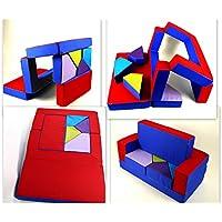Preisvergleich für scalesport Spielsofa KG02B 4in1 Kindersofa Spielmatraze für Das Kinderzimmer Spielpolster Softsofa Puzzle Kinderzimmersofa Spieltisch Kindermöbel