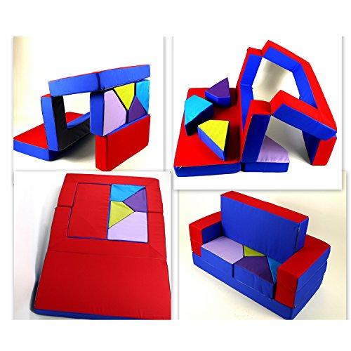 Scalesport gioco divano 4in1bambini divano gioco matraze per la cameretta polster soft divano blu/rosso puzzle cameretta divano tavolo da gioco mobili per bambini