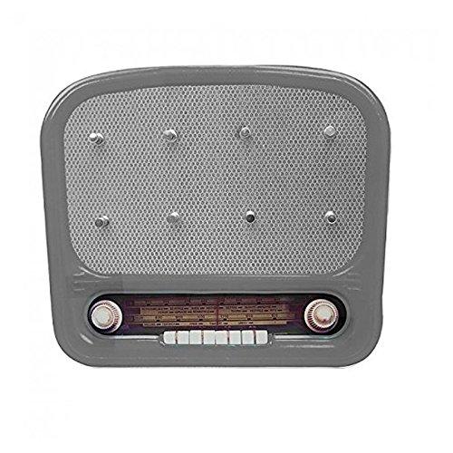 """(grau) Vintage Schlüsselbrett """"Radio"""" aus Glas im Retro Design mit 8 Haken. Schlüssel, Schlüsselanhänger, Schlüsselkasten …"""