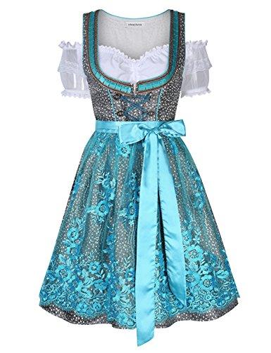Clearlove Dirndl 3 tlg.Damen Midi Trachtenkleid für Oktoberfest- Spitzen Kleid, Bluse & Schürze, Blau Spitzen, 38 (Billig Spulen)
