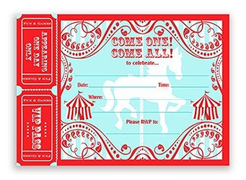 Carousel Einladungen groß AR-20Einladungen 20Umschläge-Karneval Einladungen-Zirkus Einladungskarten (Zirkus-party-einladungen)