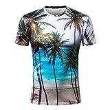 T-Shirt Uomo - Abbigliamento Sportivo Manica Corta di Stampa 3D Hawaiana di personalità Tshirt Uomo Manica Corta T-Shirt da Uomo Qinsling