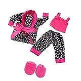 MagiDeal 5pcs/Set Bequeme Puppen Schlafanzug Nachtwäsche Pyjama Outfit für 18'' Puppe Zubehör