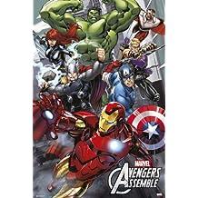 "Póster Marvel The Avengers Assemble/ Los Vengadores Ensamble ""Cómic"" (61cm x 91,5cm) + 2 marcos transparentes con suspención"