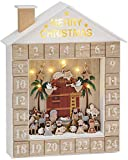 Brubaker Adventskalender Krippe mit LED Beleuchtung Weiß Goldbeige 31,5 x 38,2 x 6,3 cm