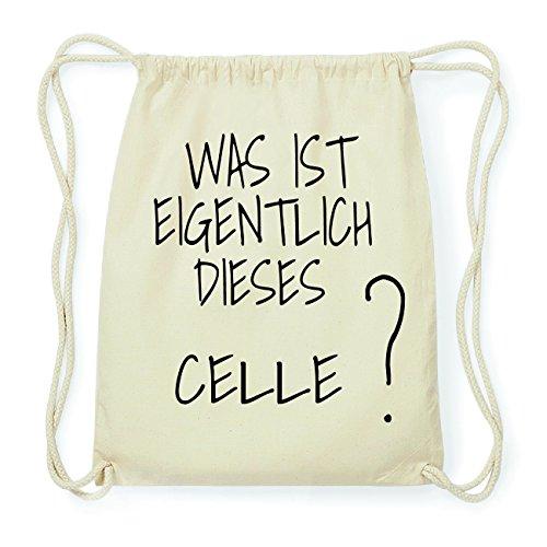 JOllify CELLE Hipster Turnbeutel Tasche Rucksack aus Baumwolle - Farbe: natur – Design: Was ist eigentlich - Farbe: natur
