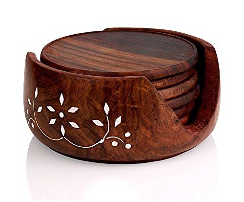 Getränkeuntersetzer aus Holz, mit Halterung, für Getränke, Gläser, Teetasse, Kaffeetasse, handgefertigt, rustikaler Stil, groß, rund, rutschfest, 10,2 cm -