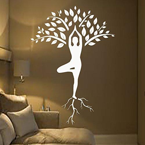 Baum Wand Aufkleber Kunst Turnerin Aufkleber Yoga Meditation Aufkleber Aufkleber Gym Home Decor Innen Design Wandmalereien (mn928)