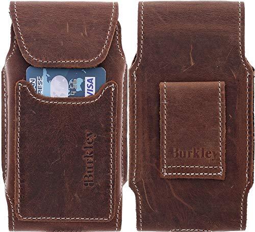 Burkley Gürteltasche geeignet für Apple iPhone 6 / iPhone 6S Lederhülle - Handyhülle Case Cover passend für das iPhone 6 / 6S - Handmade (Vertikal/Braun) - Leder Vertikal Case 6 Iphone