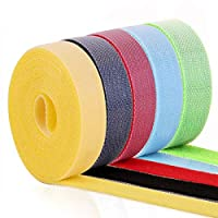 5 Rolls (1.5cm*5m Each, 25m in Total) Hook and Loop Tapes, ApexOne Cut-to-Size Reusable Cable Ties Nylon Fastening Straps Cord Management Power Wire Organizer (Including 5 Colors)