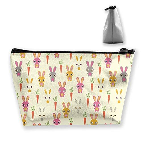 Nettes Kaninchen mit Rettich-tragbarer Reise-Kosmetik-Beutel-Speicher-Make-upbeutel -