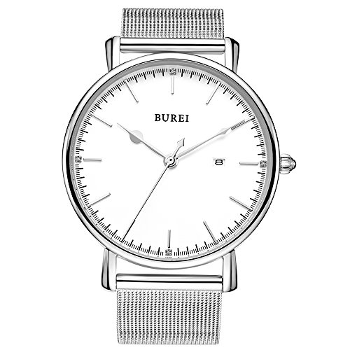 BUREI Minimaliste Montre à Quartz analogique pour Homme avec Date Disply Business Design élégant et décontracté avec Cadran argenté Ultra Fin et Bracelet milanais