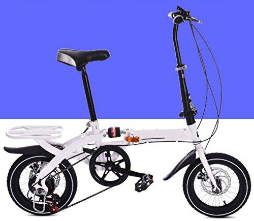 Kinder Fahrrad 14 Zoll 16 Zoll Erwachsene Falten Geschwindigkeit Fahrrad Doppelscheibenbremse Kinder Klapprad Fahrrad Student Fahrrad,White-18in