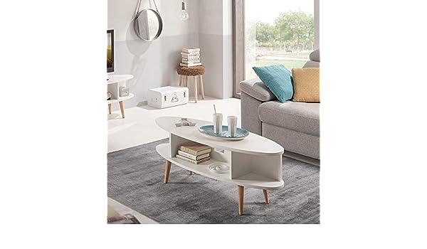 HOGAR24 ES Table Basse Design Vintage Ovale avec /étag/ères l x P x H : 120 x 55 x 49 cm. Finition Bois Naturel cir/é Dimensions
