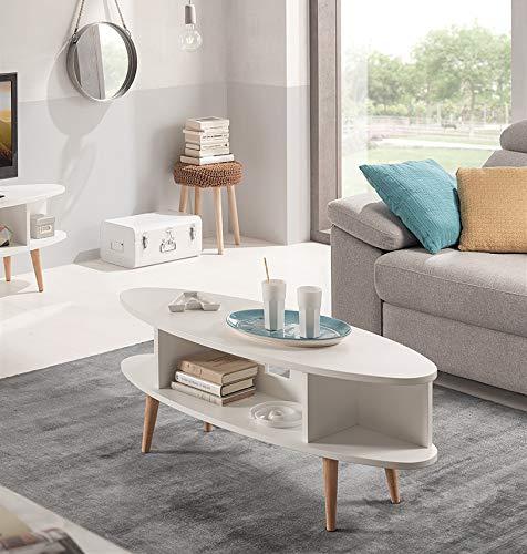 HOGAR24 ES Table Basse Ovale Design Vintage, MDF laqué Blanc et Pieds en Bois Naturel, avec Deux Compartiments, Fabrication Artisanale Dimensions : 120 x 55 x 49 cm.