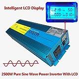 2500W/pico de 5000W onda sinusoidal pura inversor de corriente DC 12V a AC 230V coche caravana LCD