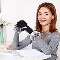 Gloves Guantes de Algodón de Pantalla Táctil Que No Caen de Las Mujeres Otoño E Invierno Montando Guantes de Esquí Al Aire Libre,Negro,Una Talla