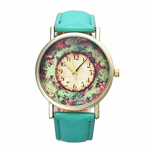 Tongshi Pastorale floral Mujeres banda de cuero de cuarzo analógico Dial reloj de pulsera(verde)