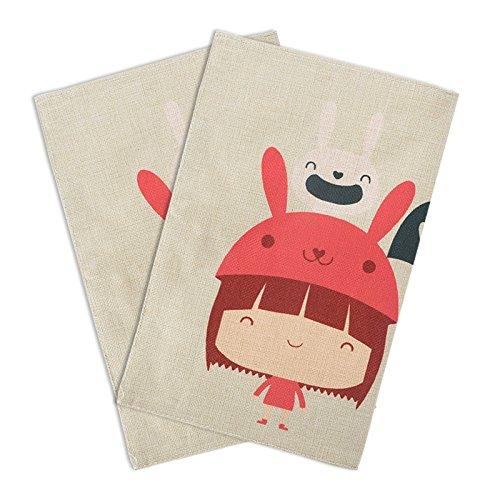 2pcs tovaglietta in tessuto di cotone bambini cartoon resistenti al calore da tavola da pranzo pad sottobicchieri girl
