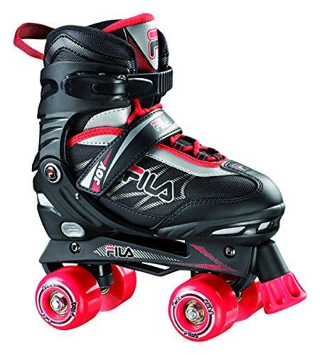 Fila Roller-Skates Jungs Joy verstellbar Rollschuhe, Schwarz/Rot, L (39-42)