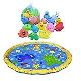 YxFlower Baby Wasser Splash Play Matte mit Badespielzeug Aufbewahrung Baby ab 1 Jahr, Sommer Garten Wasserspielzeug, Ø 100