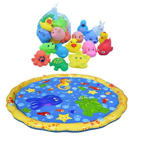 ielmatte Aufblasbare Tastmatte Spielzeug und Badespielzeug Quietschen Tier für Baby Kinder ab 6 Monate für Badewanne Dusche Pool,100 x 100 cm ()