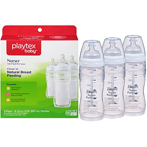Playtex BPA Free Premium Nurser Bottles with Drop In Liners 3 Count, 8...