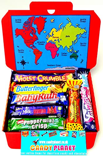 International World Chocolate Bar Selection Box | American Candy Australian Lolly Kiwi New Zealand Sweets | Peppermint Crisp Violet Crumble Chocolate Fish Perky Nana | Hamper Exclusive to CANDYPLANET