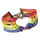 Die besten Vovotrade Fußkettchen Armbänder - Vovotrade Regenbogen-Flaggen-Stolz LGBT Charm-Herz-umsponnenes Armband Gay Lesbian Liebes-Armbänder Bewertungen
