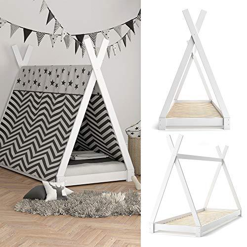 VICCO Kinderbett TIPI Kinderhaus Indianer Zelt Bett Kinder Holz Haus Schlafen Spielbett Hausbett 90×200 (weiß) - 4