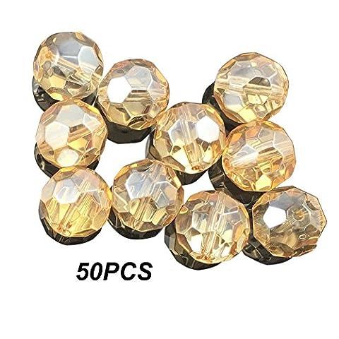Fushing 50pcs Perles de cristal, 32hexagonale Section Perles de terre, doré